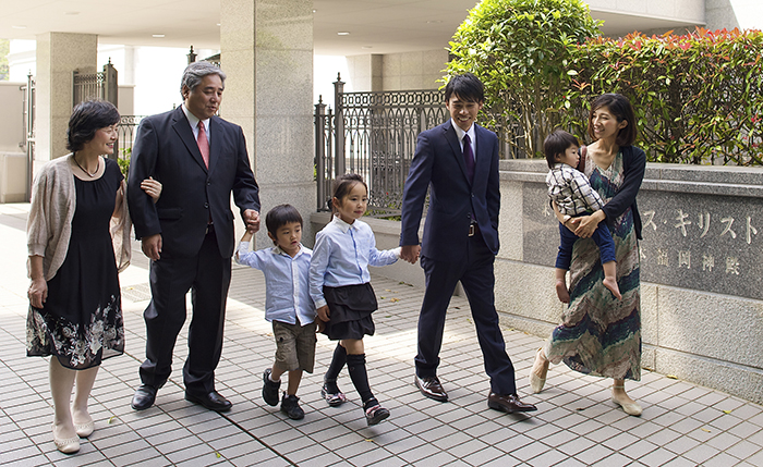 Japanese family attending the temple.