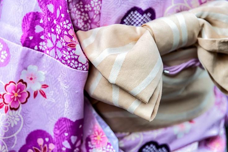 an obi on a kimono.