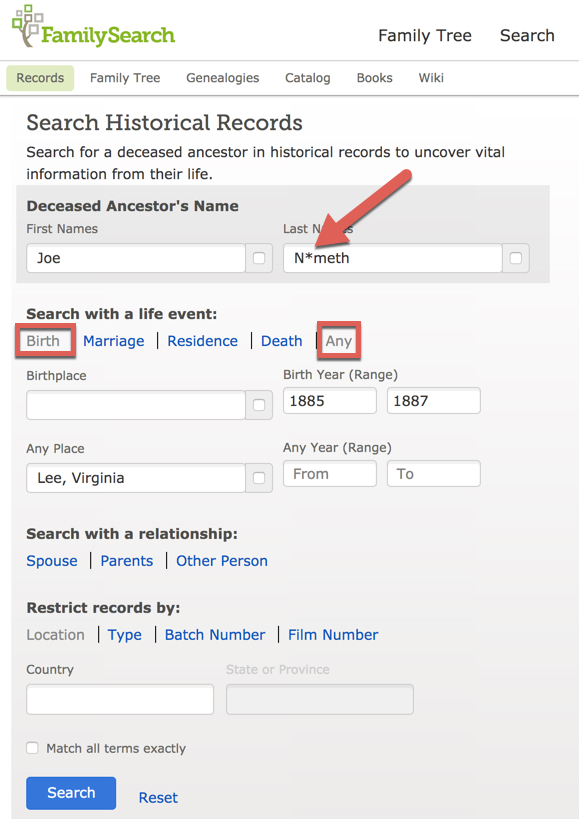 Screenshot of search page on FamilySearch.