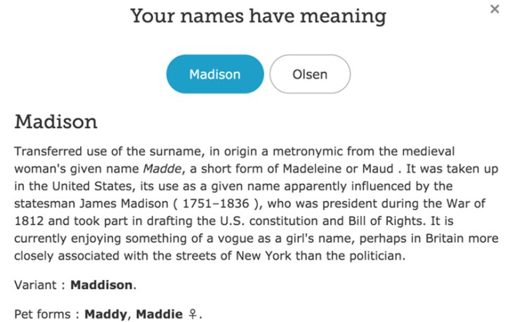 Screenshot of the meaning of your first name