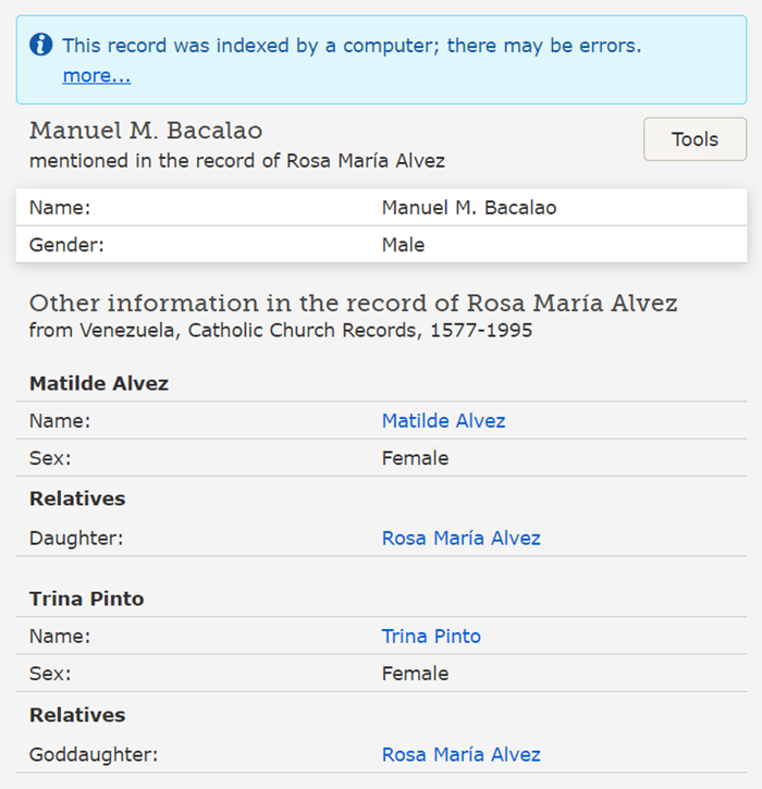 An computer-created index of a Spanish record, as shown on FamilySearch.org.
