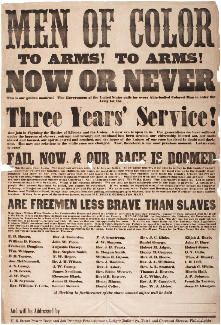 A civil-war era flyer calling for african american troops to enlist.