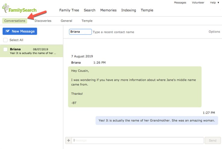 Screenshot of Conversations tab in FamilySearch Messages.
