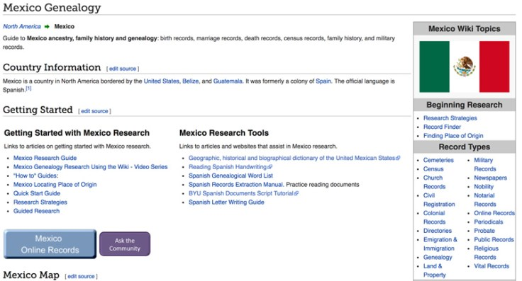 Screenshot of Mexican Genealogy page