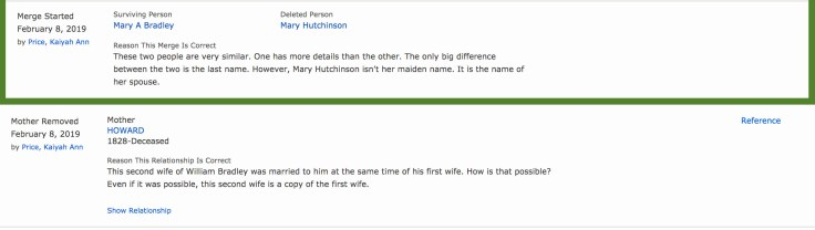 Screenshot of good reason statements on FamilySearch that can help you correct mistakes