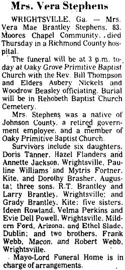 the obituary for Mrs Vera Stevens