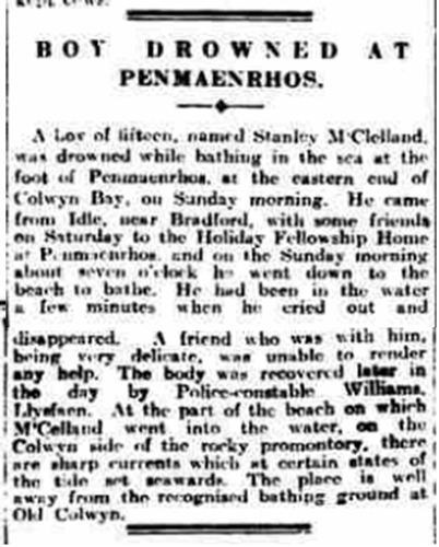 A story on a boy who drowned, found in the british newspaper archives.