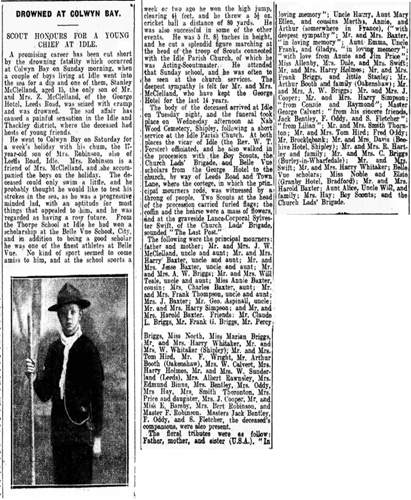 A drowning story accessed from the British Newspaper Archives.