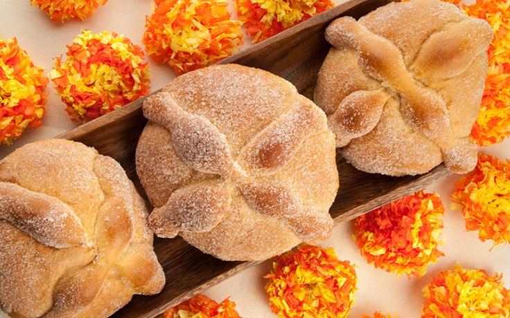Pan de Muertos, a sweet bread made on Dia de los Muertos