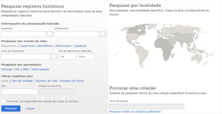 Uma captura de tela da página de registros de pesquisa, onde você pode encontrar seus antepassados.