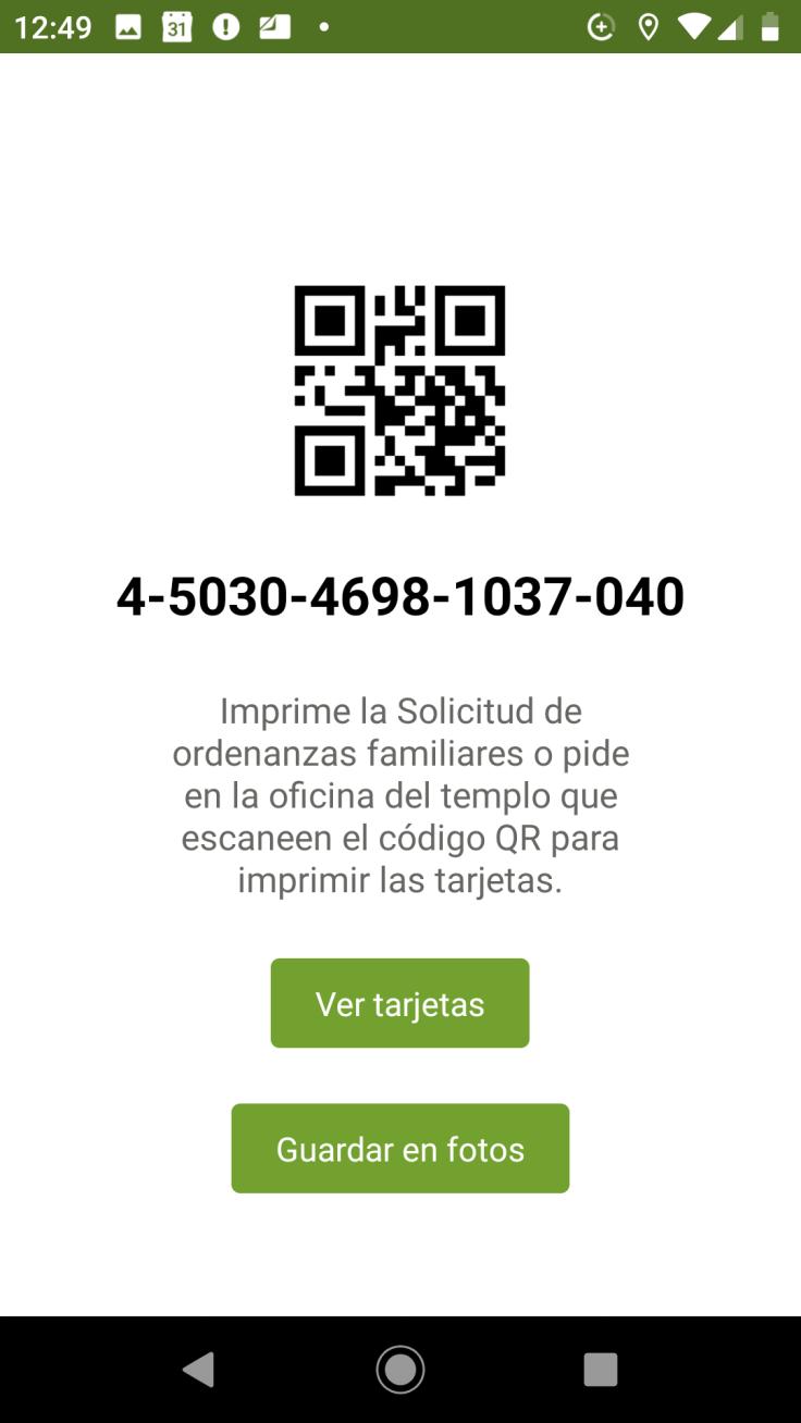 Captura de pantalla del códigoQR para imprimir las reservaciones del templo en un teléfono Android.