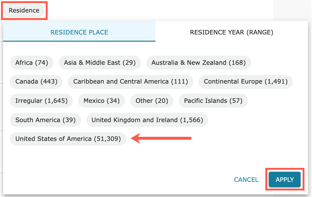 In the Residence filter, you can filter the collections according to where your ancestor lived.