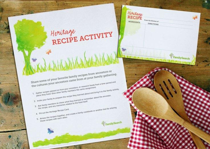 Family Gatherings: heritage recipe activity free printable