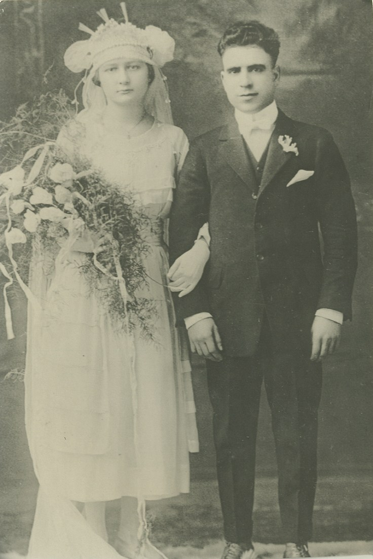 An old photo of a Mexican man and woman's wedding