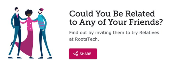 The share button for relatives at RootsTech.