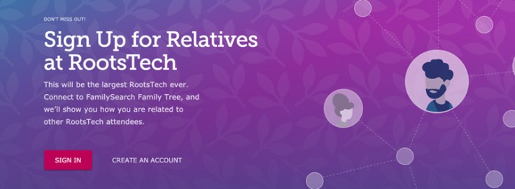 An ad for relatives at RootsTech.