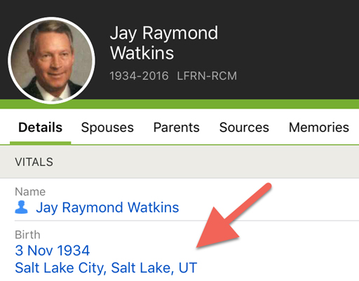 Screenshot of person page on FamilySearch mobile app.