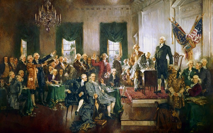 Artist depiction of the historic signing of the U.S. Constitution by the Founding Fathers.