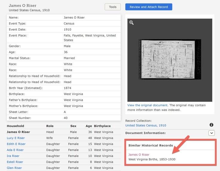 Captura de tela de detalhes de registro do FamilySearch.