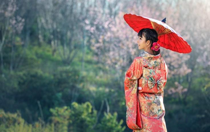 a woman in a traditional kimono.
