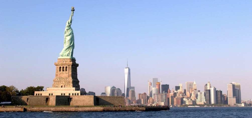 The Statue of Liberty, pictured in front of New York City's Manhattan Island.