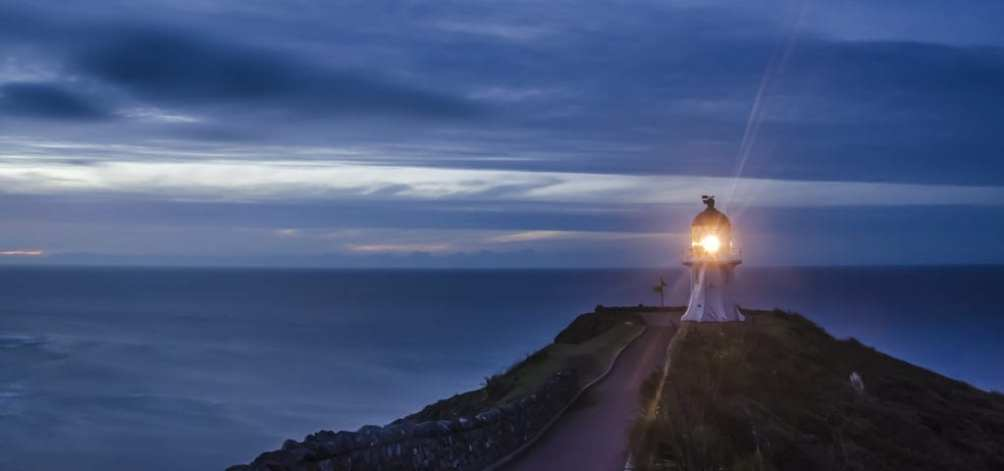 Lighthouse on New Zealand's northernmost point, Cape Reinga.