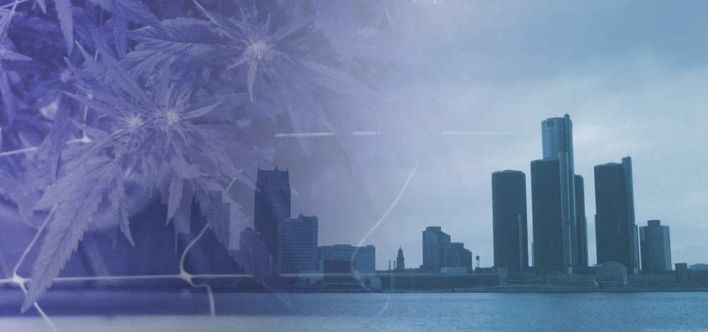Digital collage of the Detroit city skyline and an indoor cannabis grow.