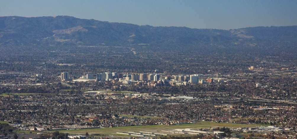 The San Jose skyline pictured from a distance on a very clear day.