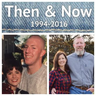 My husband and I just after we started dating and now.