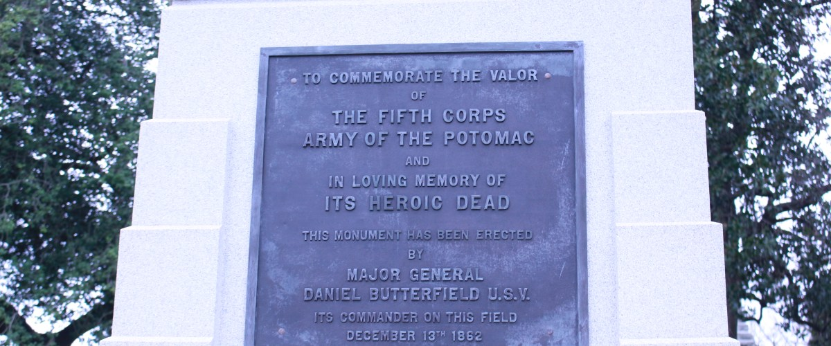 Pictured is the plaque dedicated to the fifth army corps of the Potomac