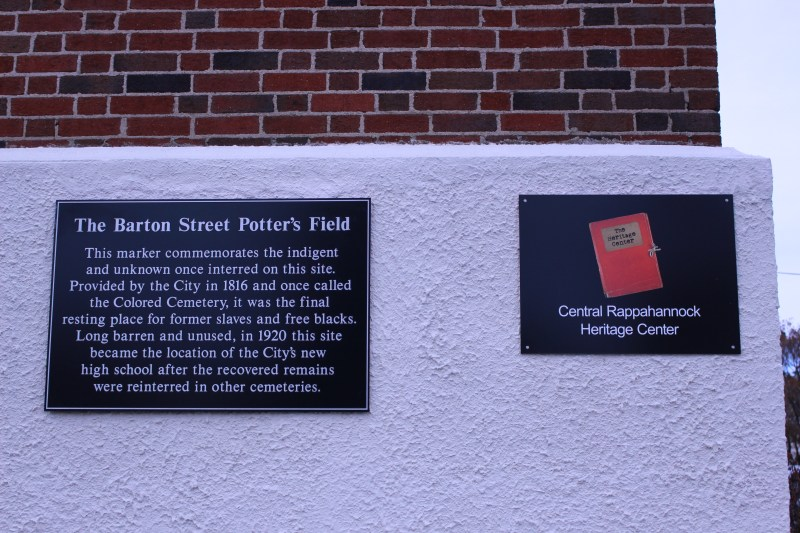 Pictured here is the Bartons's Street Potters Field building Marker
