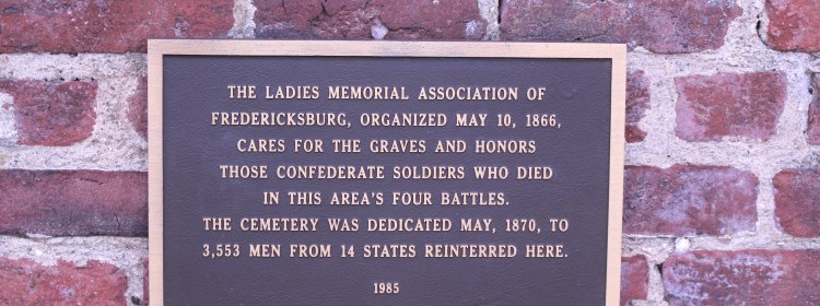 Pictured here is the plaque from the Ladies Memorial Association on the Confederate Cemetery