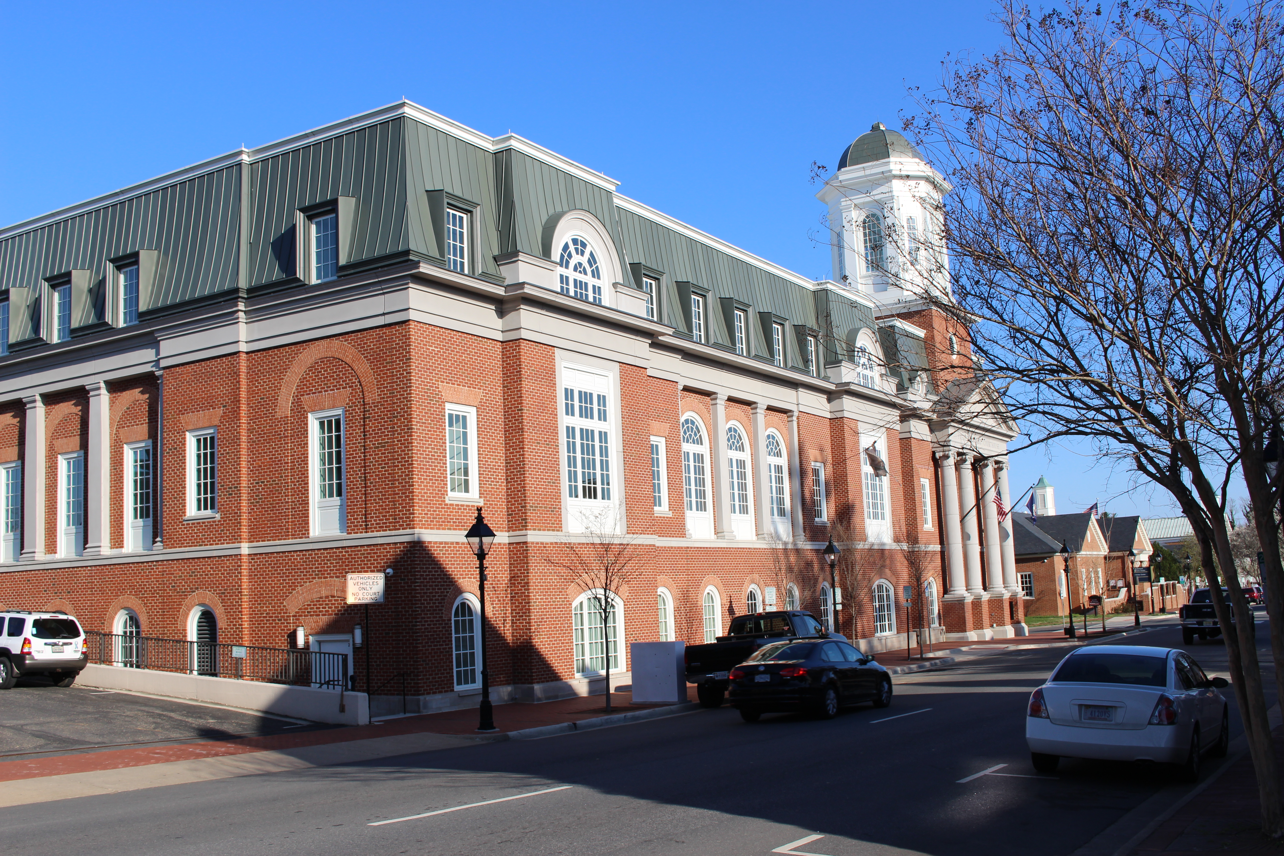 Pictured here is the current Fredericksburg Courthouse viewed from the back