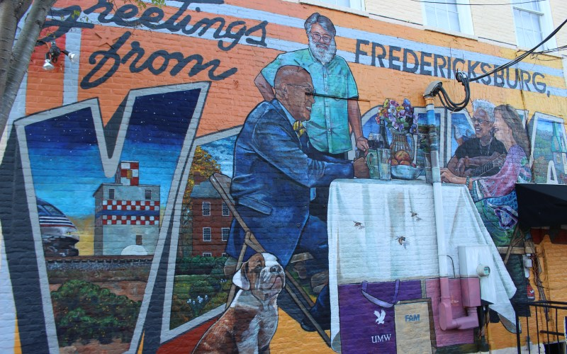 Pictured here is the mural in Fredericksburg viewed from Caroline Street