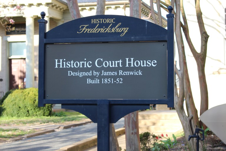 Pictured here is the historic courthouse sign