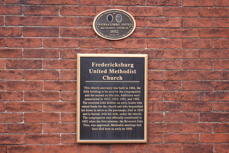 Pictured is the Fredericksburg Methodist Church building Plaque