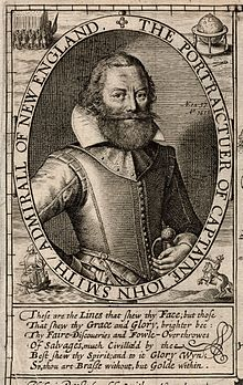Pictured is John Smith in an illustration from The Generall Historie of Virginia, New England, and the Summer Isles.