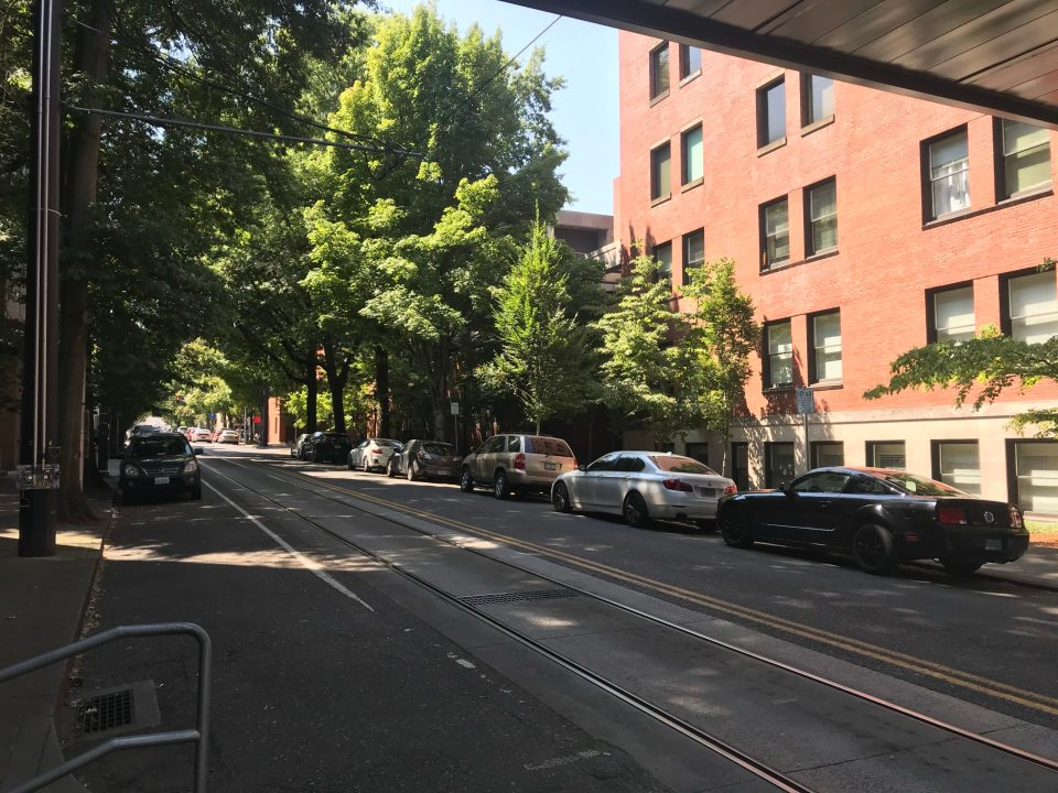 Photo of NW Lovejoy looking towards NW 23rd from the Portland Streetcar NW 22nd & Lovejoy platform.
