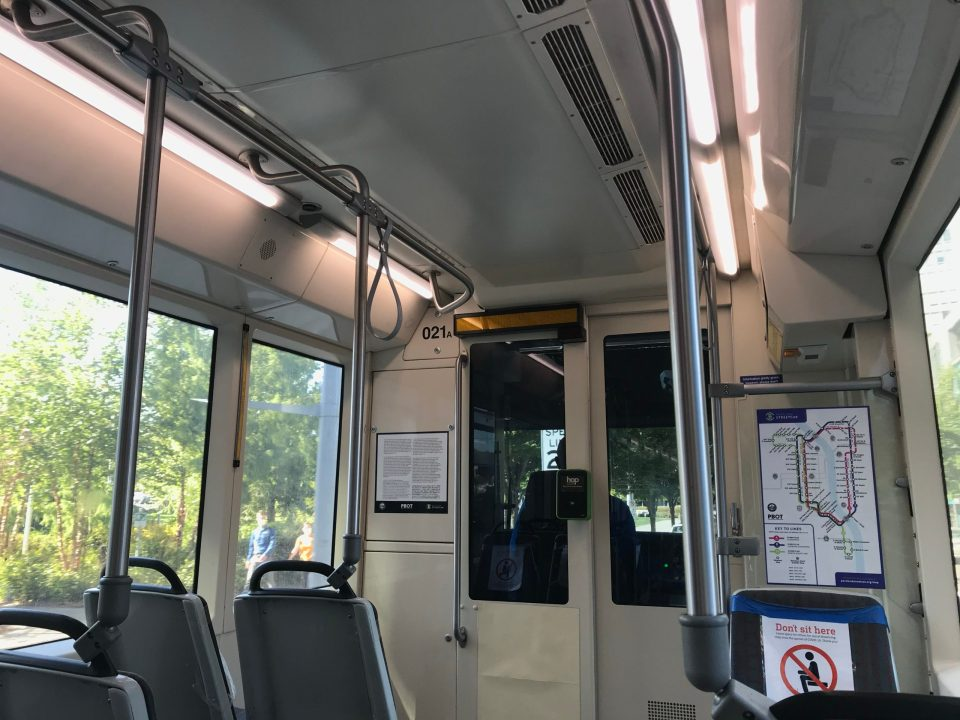 Photo of the interior of Portland Streetcar car 021, made in Clackamas, OR.