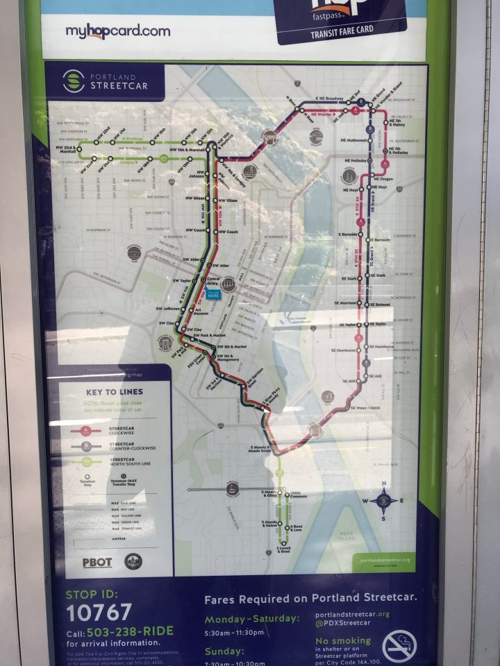 Closeup of a new Portland Streetcar system map at the Central Library platform.
