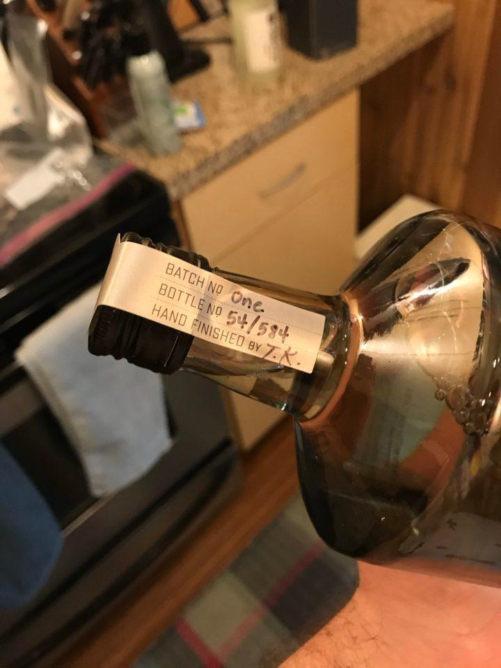 Label showing bottle 54 of 584 of the first batch of Naginata sake.