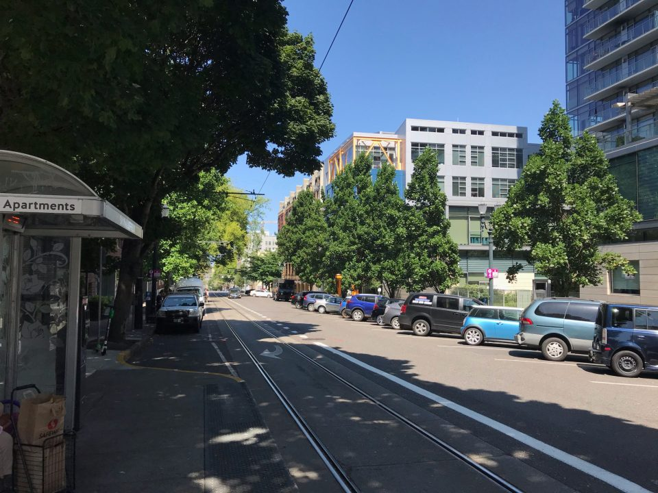 Photo looking south on SW 11th Ave at the Portland Streetcar SW 11th & Jefferson platform.