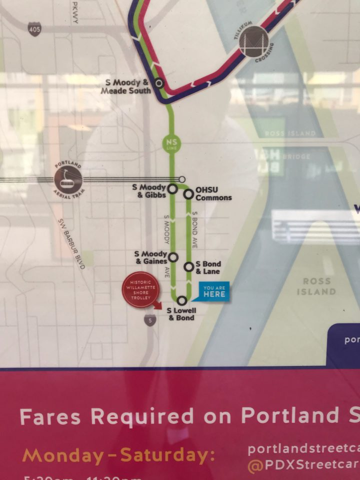Photo of a Portland Streetcar platform map showing a marker for the historic Shore Trolley.
