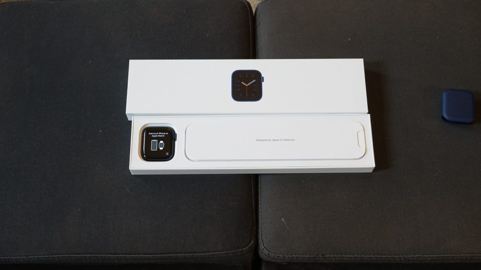 Photo of a 44mm Navy Blue Apple Watch Series 6 in box.