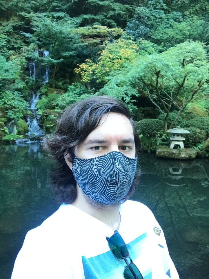 Selfie in front of the Heavenly Falls at Portland Japanese Garden.