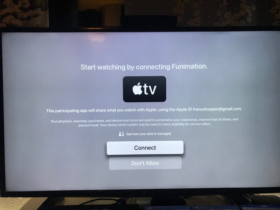 Photo of an Apple TV prompt to link Funimation to the TV app.