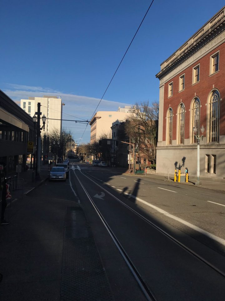Photo of downtown Portland from the Portland Streetcar 11th/Taylor platform.