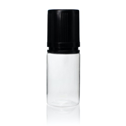 30 ml PET Clear Signature Wolf Bottle with Black Flat Cap and Pre-Inserted Tip