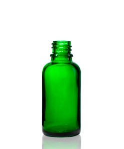 30 ml Green Euro Round Glass Bottle with 18-DIN Neck Finish
