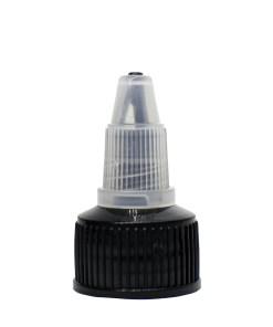 20-400 Black/Natural LDPE Ribbed Skirt Twist-Open Dispensing Top